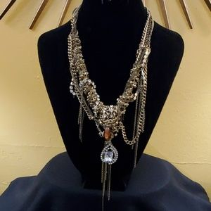 Ann Taylor Gold Chunky Rhinestone Necklace #541